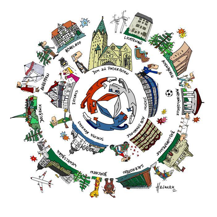 Paderborn und die drei Hasen - Cartoon von Herman Reichold