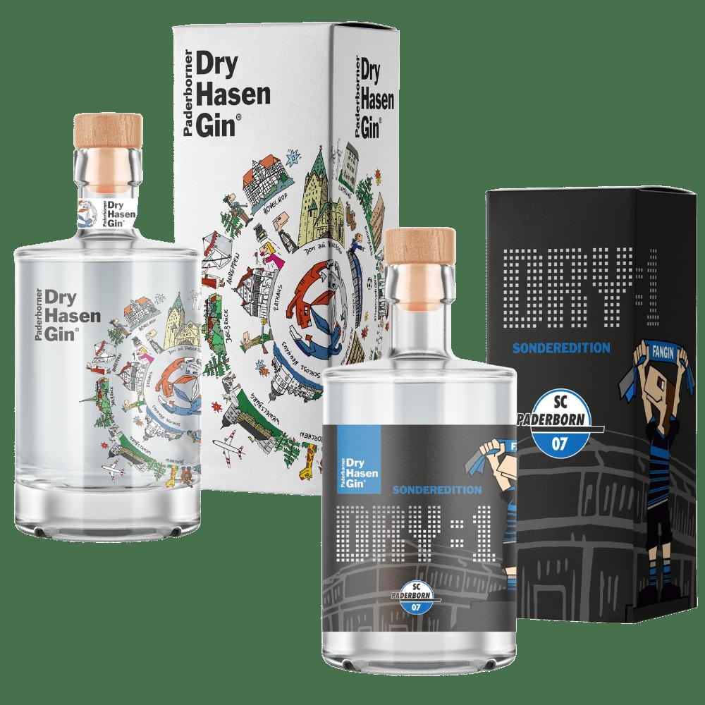 Paderborner Dry Hasen Gin Flasche und Verpackung